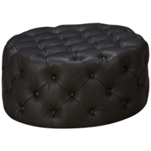 Accentrics Home Urban Eclectic Diamond Button Round Leather Ottoman