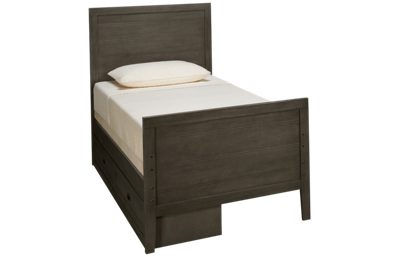 Oak Furniture West Owen Twin Panel Bed with 2 Drawer Storage