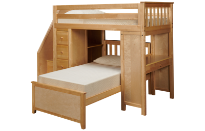 Maxwood Furniture Chester Twin over Twin Loft Bed with Dresser, Bookcase and Desk