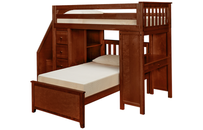 Maxwood Furniture Chester Twin Loft Bed with Dresser,