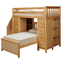 Maxwood Furniture Chester Twin over Twin Loft Bed with 2 Dressers and 2 Bookcases