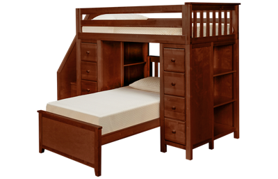 Maxwood Furniture Chester Twin Loft Beds with 2 Dressers and 2 Bookcases