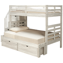 Flotation Innovations Nate Twin over Full Bunk Bed with Storage Stairs and Underbed Storage
