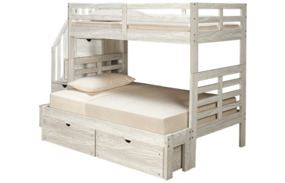 Innovations Nate Twin over Full Bunk Bed with Storage Stairs and Underbed Storage