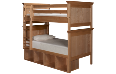 Maxwood Furniture Boston Twin Over Twin Bunk Bed with Cubbies