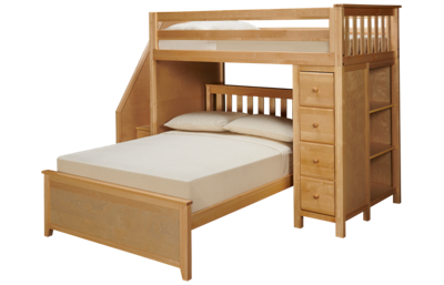 Maxwood Furniture Chester Twin Over Full Loft Bed with Dresser and Bookcase