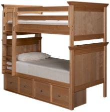 Maxwood Furniture Boston Twin Over Twin Bunk Bed with Storage