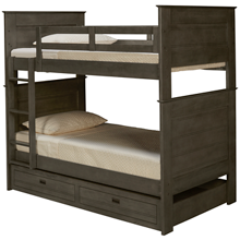Oak Furniture West Owen Twin Over Twin Bunk Bed with Storage Trundle