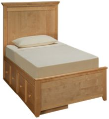 Maxwood Furniture Boston Twin Plank Bed with 2 Storage Drawers