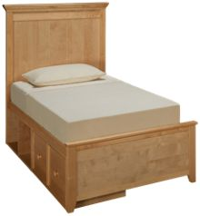 Maxwood Furniture Boston Twin Plank Bed with 1 Drawer and 1 Cubbie
