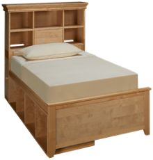 Maxwood Furniture Boston Twin Bookcase Bed with 2 Cubbies