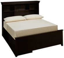 Maxwood Furniture Boston Full Bookcase Bed with Storage Drawer and Cubbie
