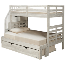 Flotation Innovations Nate Twin over Full Bunk Bed with Storage Stairs and Underbed Trundle