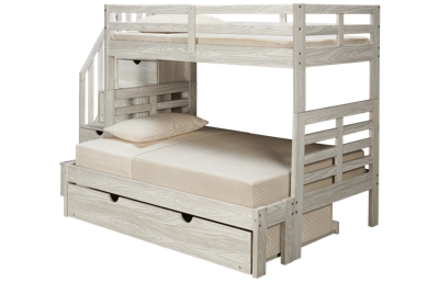 Innovations Nate Twin over Full Bunk Bed with Storage Stairs and Underbed Trundle