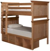 Maxwood Furniture Boston Twin Over Twin Bunk Bed with Storage
