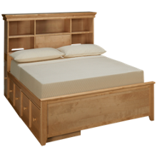 Maxwood Furniture Boston Full Bookcase Bed with 2 Storage Drawers