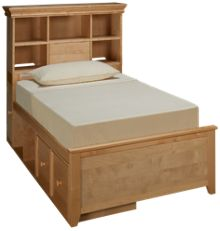 Maxwood Furniture Boston Twin Bookcase Bed with 1 Drawer and 1 Cubbie