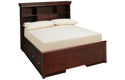 Maxwood Furniture Boston Full Bookcase Bed with 4 Drawers