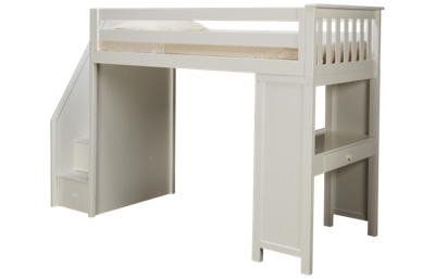 Maxwood Furniture Chester Twin Loft Bed with Desk