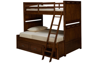 Legacy Classic Lake House Twin Over Full Bunk Bed with Underbed Storage