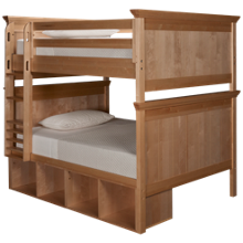 Maxwood Furniture Boston Full Over Full Bunk Bed with 4 Cubbies