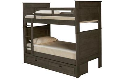 Oak Furniture West Owen Twin Over Twin Bunk Bed with 2 Drawer Storage