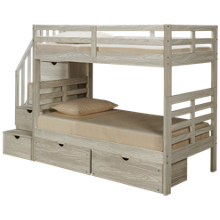 Flotation Innovations Nate Twin over Twin Bunk Bed with Storage Stairs and Underbed Storage Chest