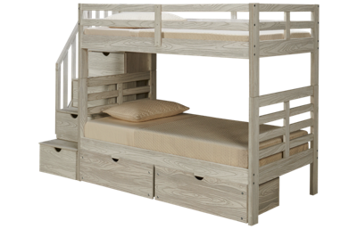 Innovations Nate Twin over Twin Bunk Bed with Storage Stairs and Underbed Storage