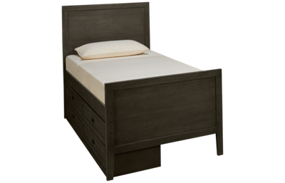 Oak Furniture West Owen Twin Panel Bed with 4 Drawer Storage