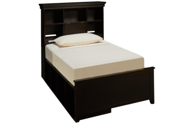 Maxwood Furniture Boston Twin Bookcase Bed with 2 Storage Cubbies