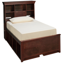 Maxwood Furniture Boston Twin Bookcase Bed with 8 Cubbies
