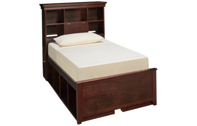 Maxwood Furniture Boston Twin Bookcase Bed with 4 Cubbies