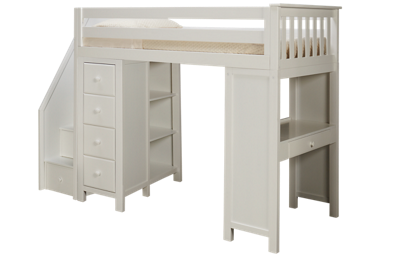 Maxwood Furniture Chester Twin Loft Bed with Dresser, Bookcase and Desk