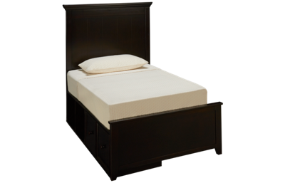 Maxwood Furniture Boston Twin Panel Bed with Storage Drawer and 2 Cubbies