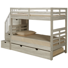 Flotation Innovations Nate Twin over Twin Bunk Bed with Storage Stairs and Underbed Trundle