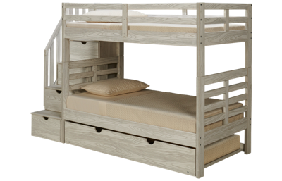 Innovations Nate Twin over Twin Bunk Bed with Storage Stairs and Underbed Trundle