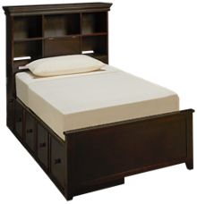Maxwood Furniture Boston Twin Bookcase Bed with 2 Storage Drawers