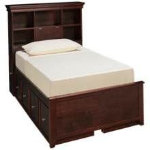 Maxwood Furniture Boston Twin Bookcase Bed with 4 Drawers