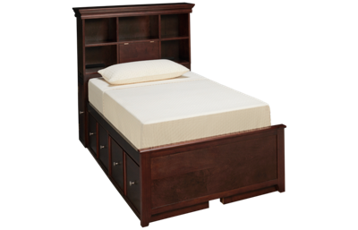 Maxwood Furniture Boston Twin Bookcase Bed with 4