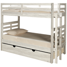 Flotation Innovations Nate Twin Over Twin Bunk Bed with Ladder and Underbed Trundle
