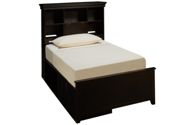 Maxwood Furniture Boston Twin Bookcase Bed with Storage Drawer and Cubbie