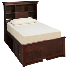 Maxwood Furniture Boston Twin Bookcase Bed with 2 Drawers and 4 Cubbies