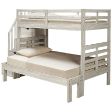 Flotation Innovations Nate Twin over Full Bunk Bed with Storage Stairs