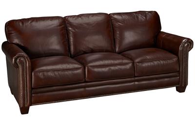 Futura Cordovan Leather Sofa with Nailhead