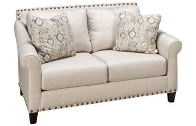 Klaussner Home Furnishings Rowlin Loveseat with Nailhead
