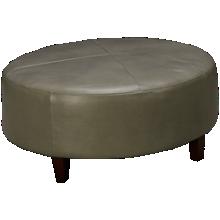 Futura Grey Leather Round Ottoman