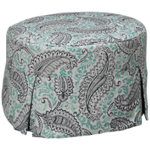 Four Seasons Devin Round Ottoman with Slipcover