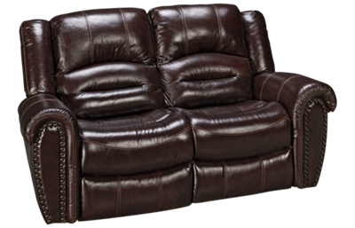 Flexsteel Crosstown Leather Dual Power Recliner with Power Headrest and Nailhead