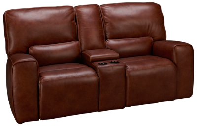 Futura Chestnut Leather Power Loveseat with Console and Power Headrest