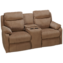 Klaussner Home Furnishings Solitaire Power Loveseat Recliner with Console and Tilt Headrest
